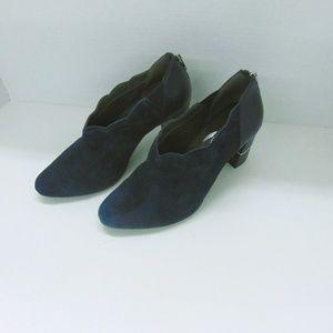 Aerosoles Heelrest Faux Suede Blue Booties Sz 7.5